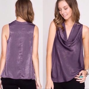 Tops - Purple Satin Cowl Neck Blouse